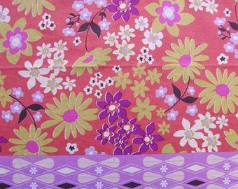 Melody Miller Ruby Star Polka Dot  Flowers in Purples - One Panel