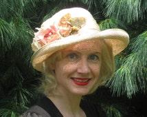 1970s Louise Green designer straw flower hat