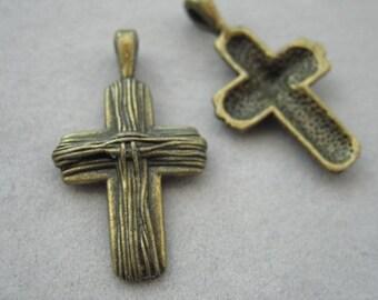 Cross charm, Bronze plated, 30mm x 17mm, 2pc