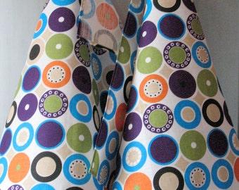 Linen Cotton Dish Towels Tea Towels Circle Round Purple Green Orange Blue White Tea Towels set of 2
