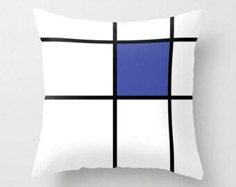 """mondrian, 3, blue, cushions, cushion cover, pillow covers. 16"""" x 16"""" (40 x 40 cm), 18"""" x 18"""" (45 x 45 cm), 20"""" x 20"""" (50 x 50 cm), 24"""" x 24"""""""