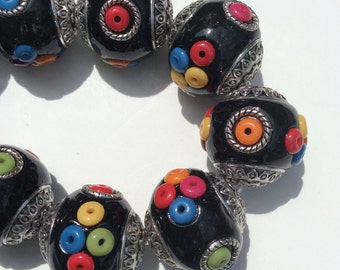Black Multicolor Indonesian Clay Bead, Seed Bead 22 x 18mm with a 1.8-2mm Hole (3 Beads)