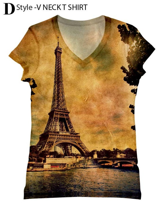 Woman extra-large extended adult big and plus size Paris Eiffel tower scenery romantic  view printed tank top and tshirt by Hellominky-333