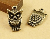 20pcs Antique Bronze Lovely Owl Charms Pendant  Jewelry Supplies 11x16mm A1414-16A