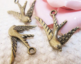 12pcs 26x26mm Antique Bronze Lovely Bird Swallow Charms Pendant Jewelry Supplies A2580-23C