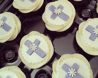 12 Fondant Cross Cupcake Toppers