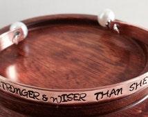 Hand stamped cuff bracelet. Mindfulness. Yoga. Mantra bracelet. Inspirational message bracelet. Graduation, birthday, sister , friend.