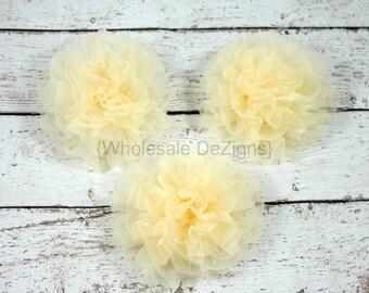 Cream Petti Puff  Chiffon Rosette Flowers - Set of 3