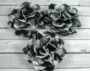 "Black and White Chiffon and Lace Flower - 4"" Full and Fluffy - 4 inches"