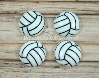 "Volleyball Resins - Black and White Volley Ball Cabochons - Flat Back Acrylic Embellishment 1"" - 4 pcs"