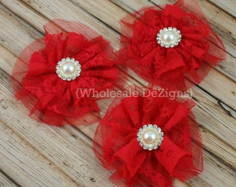 """Red Lace and Tulle Flower with 18mm Pearl Rhinestone Center 3.5"""" - 3 Pieces"""