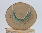 Statement Necklace, Turquoise Silver Bib Necklace, Fringe Necklace, Bohemian Jewelry, Blue Green Necklace