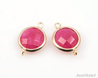 2pcs - Ruby and Matte Gold Framed Round Connector / runy / fuscia / red / 16k gold plating / gemstone / 11x16mm / SREMG002-C