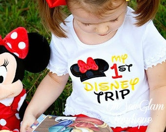 My first Disney trip - Girls Embroidered Shirt - Disney Shirt - First Trip to Disney - Minnie Mouse Shirt - Embroidered Shirt