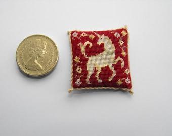 1:12 scale Unicorn dolls house cushion Kit in petitpoint