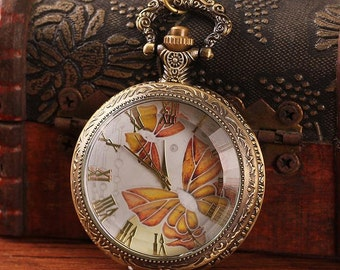 1pcs 48mmx48mm Bronze Butterfly  Glass Cover pocket watch charms pendant PW169