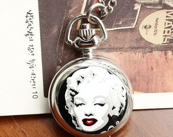 1pcs Marilyn Monroe  pocket watch charms pendant    25mmx25mm