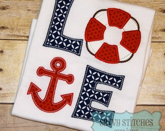 Nautical Love Machine Embroidery Applique Design