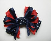 Petite Little 3 inch Navy Blue Swiss Polka Do and Red Hair Bow School Boutique Uniform Accessory