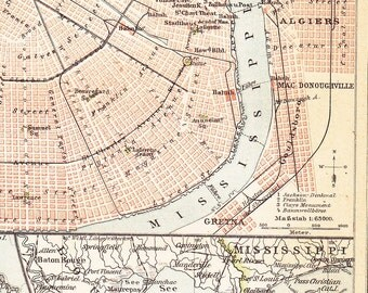 1899 New Orleans and the Mississippi Delta at the end of the 19th Century Antique Map