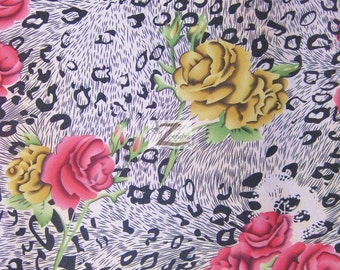 """Floral Leopard Mix Satin Fabric - CORAL/GOLD - 58"""" Width Sold By The Yard"""