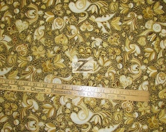 "Celebration Golden Floral By Hoffman Fabrics 100% Cotton Fabric - 45"" Width Sold By The Yard (FH-735)"