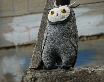 Grey white owl stuffed toy