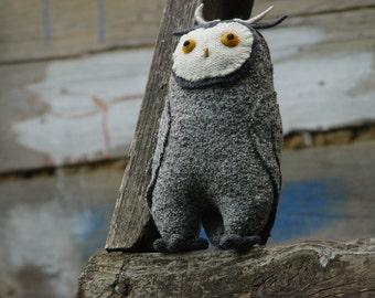 Grey white owl stuffed toy