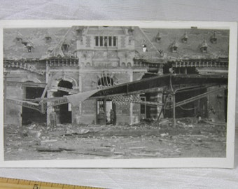 WWI Railroad Depot at Wareghem, Belgium -  Soldier's Personal Photograph Postcard