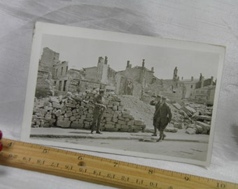 WWI  Air Bombed Building in Bar Le Duc, France - Soldier's Personal Photograph Postcard