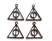 4 Gunmetal Deathly Hallows Charms