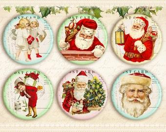 Christmas circles with vintage images Santa circles 2x2 inch circles on Digital collage sheet Printable download - CHRISTMAS CIRCLES