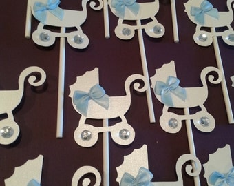 Mini Stroller Carriage Cupcake cake toppers baby shower decoration baby carriage stroller toppers BABY BOY