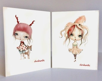 "2 Note cards from my original artwork""Fairy girls"""