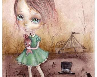 Original painting mixed media on paper...Nostalgie,OOAK