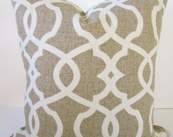 Tan PILLOW Covers Tan Pillows Tan Decorative Throw Pillows Taupe Throw Pillows Euro Shams 22 24x24 26x26 Trellis Home and Living Geometric