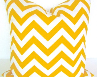 Sale YELLOW OUTDOOR PILLOW Yellow Chevron Throw Pillow Covers Yellow Outdoor Pillow Cover Gold Yellow Pillow 16 18x18 20 .All Sizes.