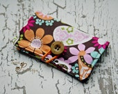 Business Card Wallet holder brown floral