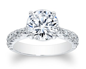 Ladies 14kt white gold vintage antique engagement ring with natural 2ct Round White Sapphire center and 0.55 ctw G-VS2 diamonds