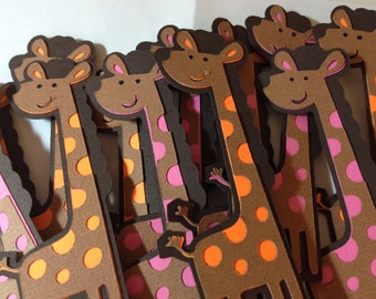 Giraffe Cupcake Toppers/Baby Shower/Jungle Theme Birthday/Zoo