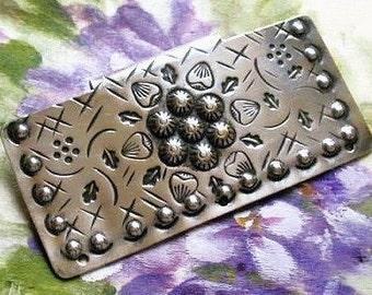 Metal half buckle/clasp to use as a trim, antique, probably Austrian, oblong & a decorative design. c1900-1918.