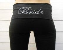 OVERSTOCK CLEARANCE SALE - Small Bride Yoga Pants. Bridal Yoga Pants. Custom Bride Pants. Bride Sweatpants. Maid of Honor Bridesmaid Pants.