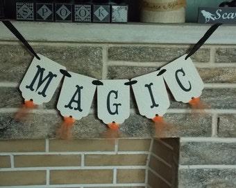 Magic Halloween Banner Vintage Style Orange Black and Cream Halloween Decoration