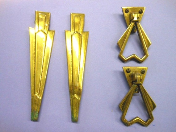 Art deco brass handles accent pieces metal salvage restoring