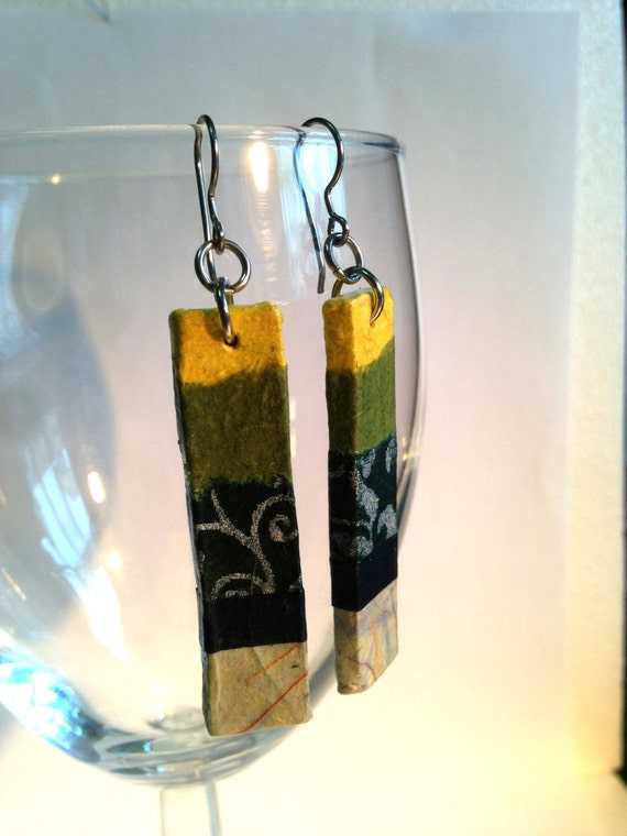 Yellow Green Hanji Paper Earrings OOAK Dangle Earrings Handmade Hypoallergenic hooks Lightweight Patchwork Design