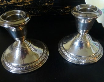 Vintage Pair of Sterling Silver Candlesticks
