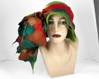 Felted Hat Cloche Hat Designer Hat  Flapper Hat Green Hat Art Hat wild Retro hats Felt wearable art Nunofelt Nuno felt Eco Fiber Art