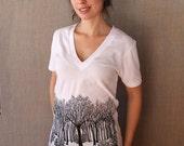 SALE! Squam Woods Winter silk screen100%cotton deep V neck American Apparel T shirt