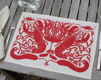 "Set of 4 Linen ""Lobster"" Placemats by Isabel Natti"