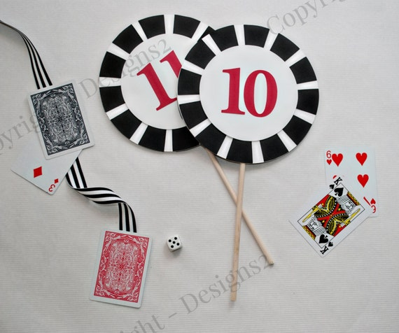 Items similar to casino themed poker chip centerpieces on etsy for Decoration poker